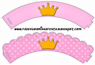 Golden Crown in Pink:  Free Printable Cupcake Toppers and Wrappers.