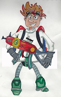boceto cientifico loco humanoide