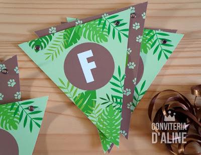 decoração safari selva bandeirola guirlanda