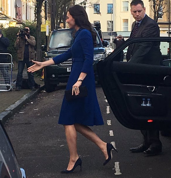 Kate Middleton wore Eponine London Belted Blue Coat, Gianvito Rossi Suade pumps, Russell and Bromley Clutch
