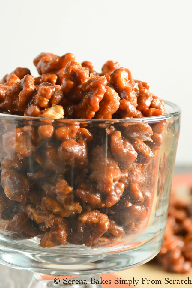Toffee Walnuts are an easy to make recipe amazing plain, served with cheese, dessert, or as a topping for salad from Serena Bakes Simply From Scratch.