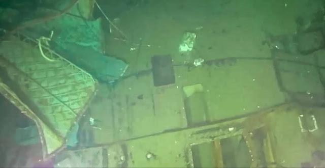 Una imagen que muestra una parte del submarino hallado este domingo. Foto: AFP.