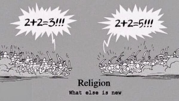 Funny religion carton - What else is new? 2+2=3!!! 2+2=5!!!