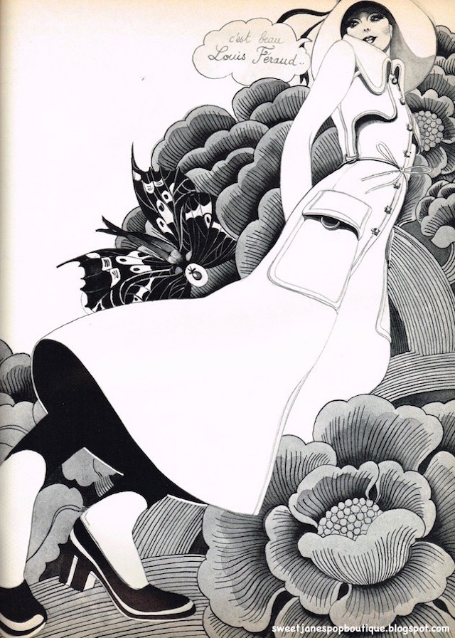 Louis Feraud, Maxi Coat, Paris Fashion Illustration Hélène Majera.1970
