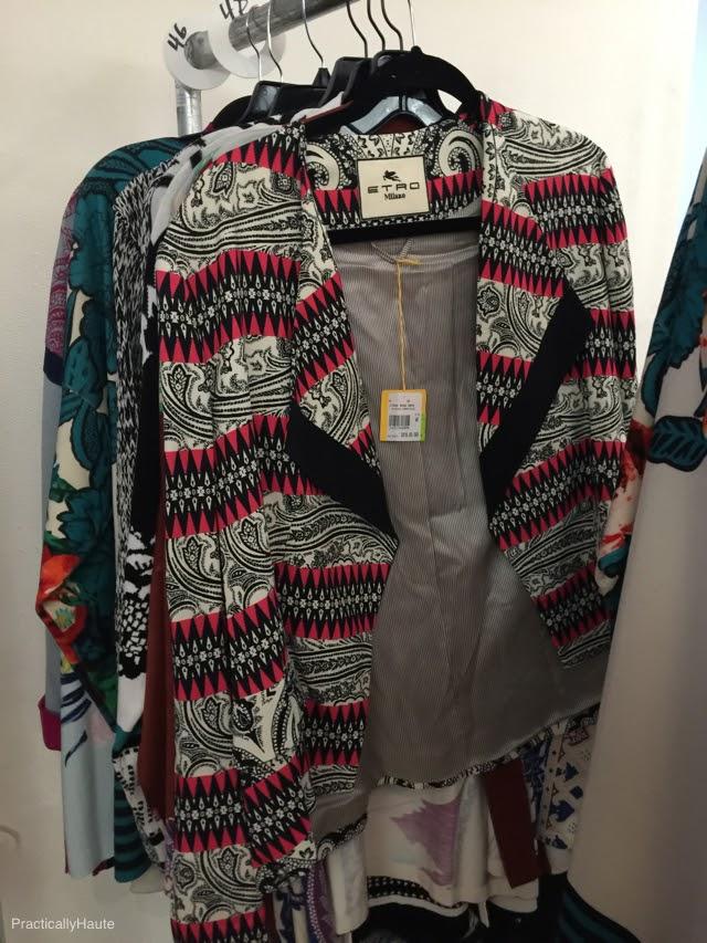 Etro sample sale print open front jacket