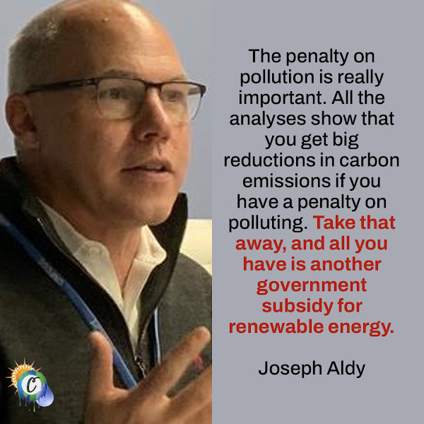 The penalty on pollution is really important. All the analyses show that you get big reductions in carbon emissions if you have a penalty on polluting. Take that away, and all you have is another government subsidy for renewable energy. — Joseph Aldy, Professor of the Practice of Public Policy at the John F. Kennedy School of Government at Harvard University