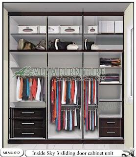 Dalam lemari minimalis sliding model cabinet unit Sky