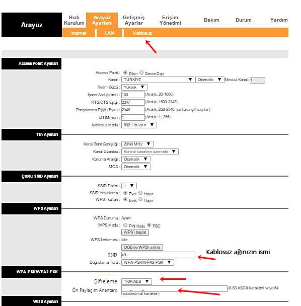 tp-link modem wifi sifresi ve kullanici adi degistirme