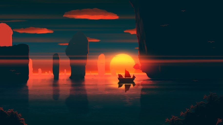 Sunset, Sea, Scenery, Digital Art, 4K, #93