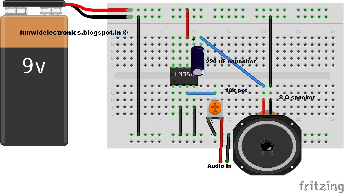 Fun With Electronics And Sensors Diy Audio Amplifier Using Lm386 Circuit Diagram Breadboard Fritzing