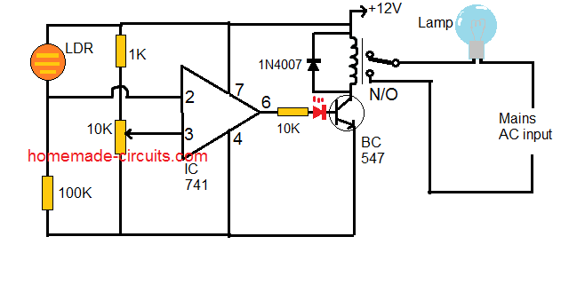 automatic day night street lamp circuit using opamp and relay