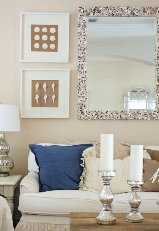 Oyster Shell Mirror Decor Idea Living Room Above Sofa