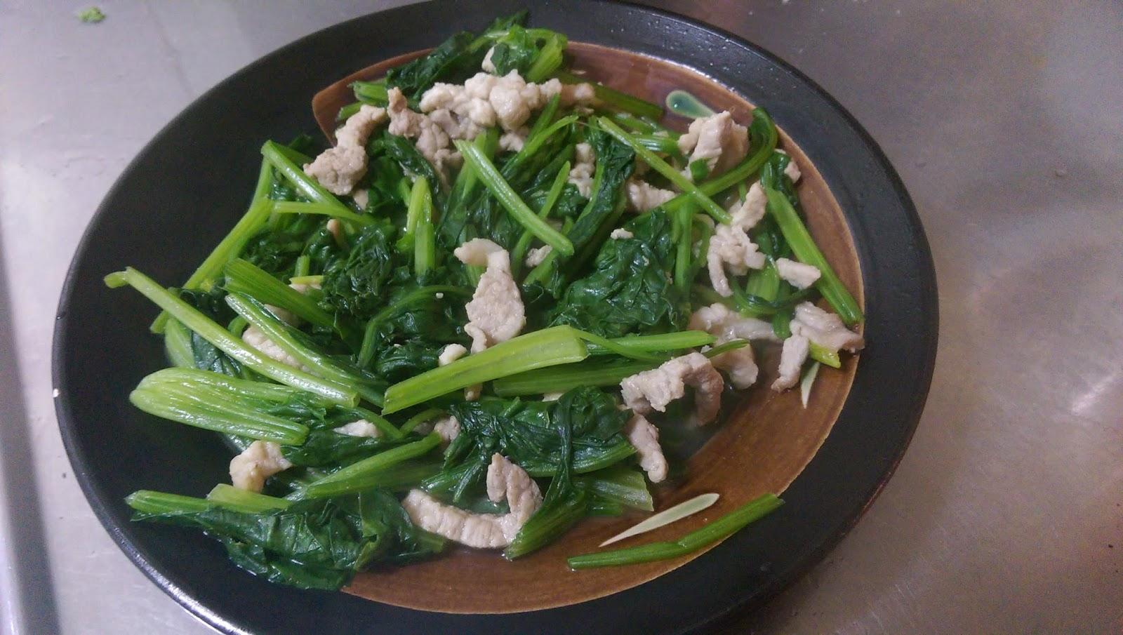 宅師的家常菜: 肉絲炒菠菜
