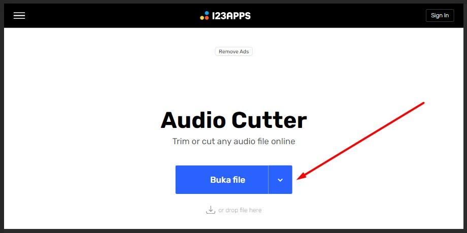 tampilan audio cutter mp3cut