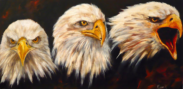 oil painting, Head studies of an American bald eagle