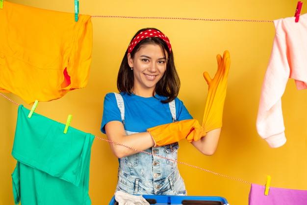 funny beautiful housewife doing housework 155003 19384