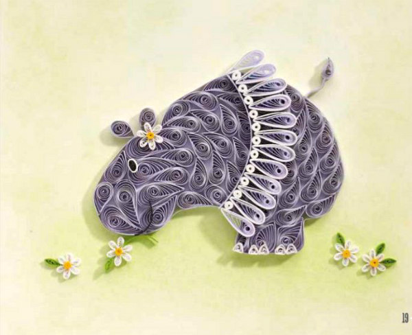 quilled hippo wearing skirt