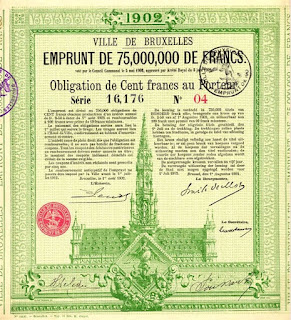 1902 bond certificate of Brussels depicting town hall and archangel Michael