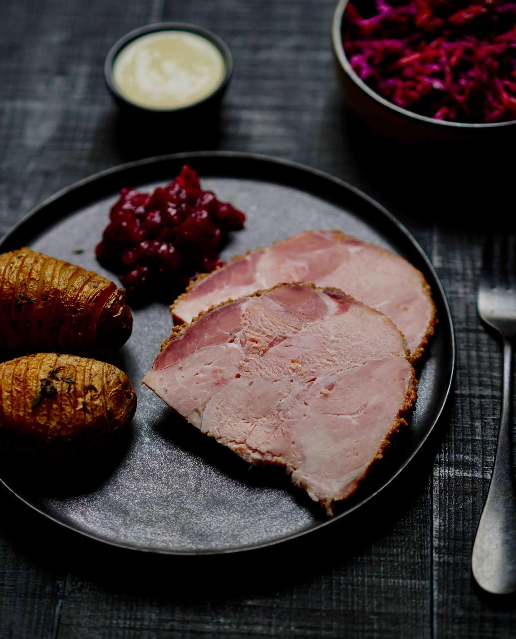 talon de jambon , croûte croustillante sucrée , plat familial