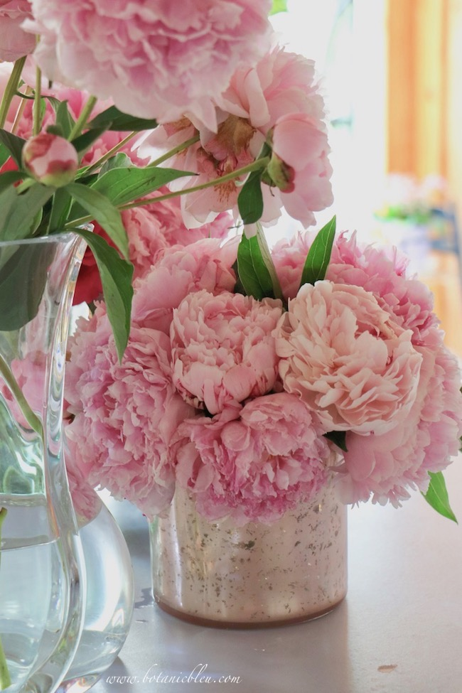 Romantic French country pink peonies in a post and beam country house