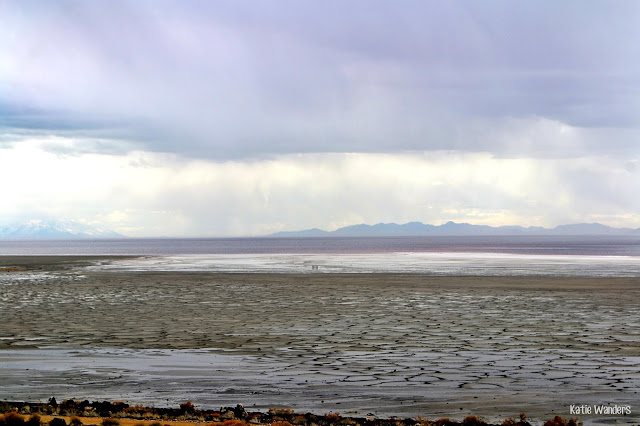 views of Great Salt Lake from Spiral Jetty