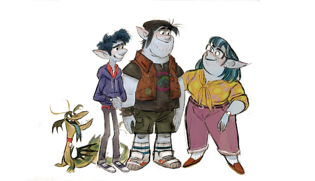 Onward concept artwork of Blazey, Ian, Barley, and Laurel