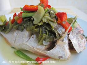 Resep Tim Ikan Dengan Sawi Asin & Paprika JTT