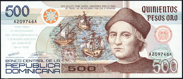 Dominican Republic currency 500 Pesos Oro banknote 1992 Christopher Columbus