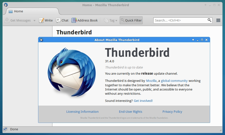 Linux Tutorial Terminal Online: Mozilla Thunderbird 31 4 0 is