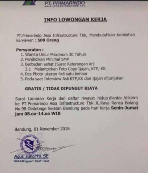 Lowongan PT. Primarindo Asia Infrastructure Tbk
