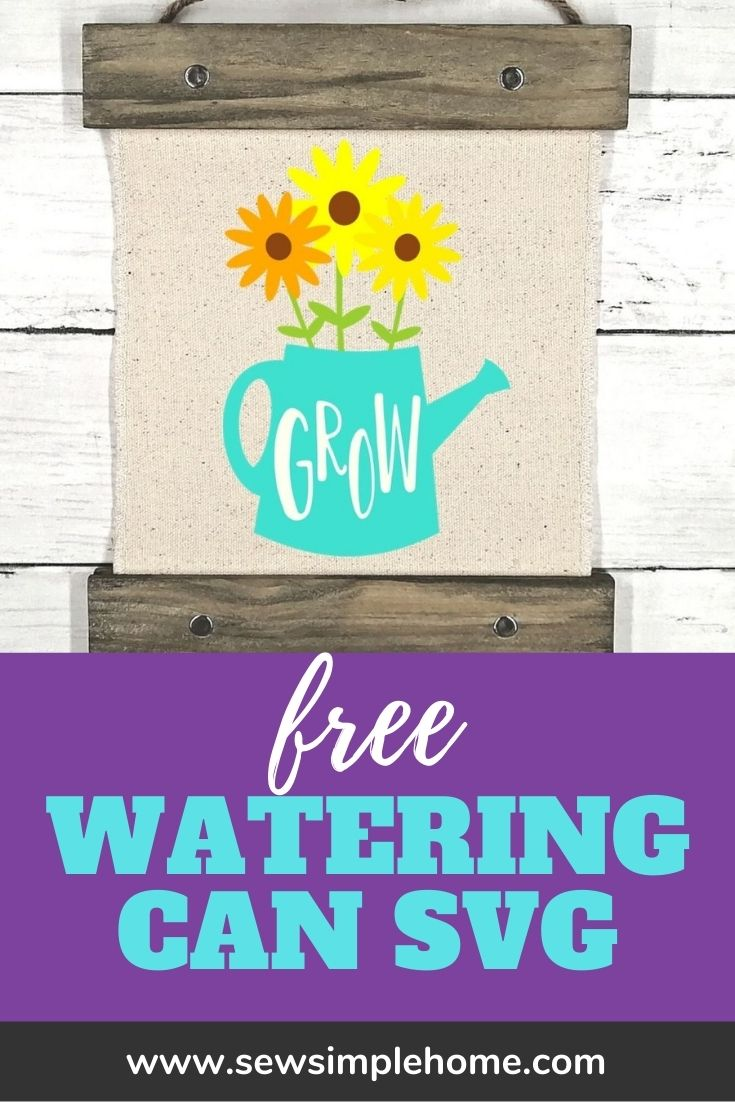 Free watering can SVG cut file can be used for Cricut or Silhouette.