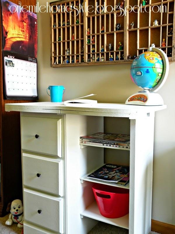 White Vintage Kids Desk - After