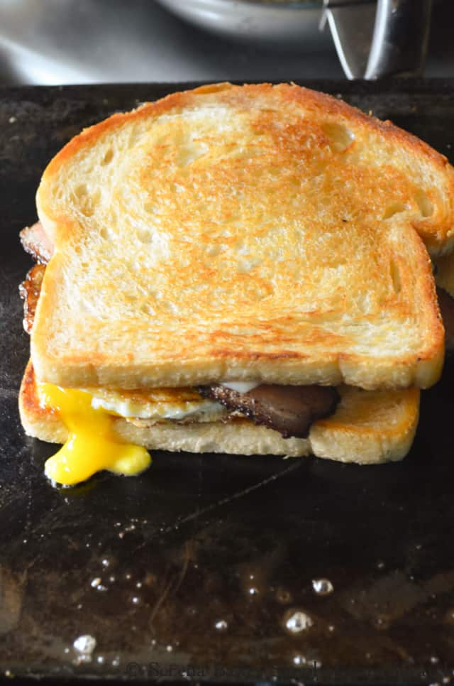 Breakfast Bacon and Egg Grilled Breakfast Sandwich Recipe from Serena Bakes Simply From Scratch.