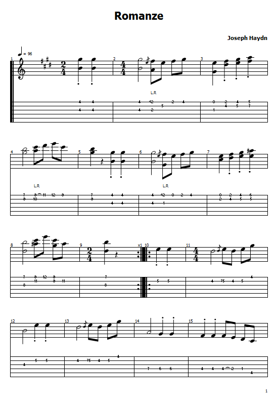 Romanze Tabs Joseph Haydn. How To Play Romantic On Guitar/ Joseph Haydn Romanze Free Tabs / Classical Sheet Music. Joseph Haydn - Romantic