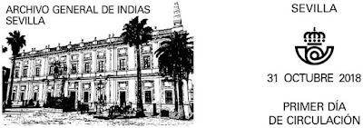 Filatelia - Archivo General de Indias - Matasellos Primer día - 31-10-2018