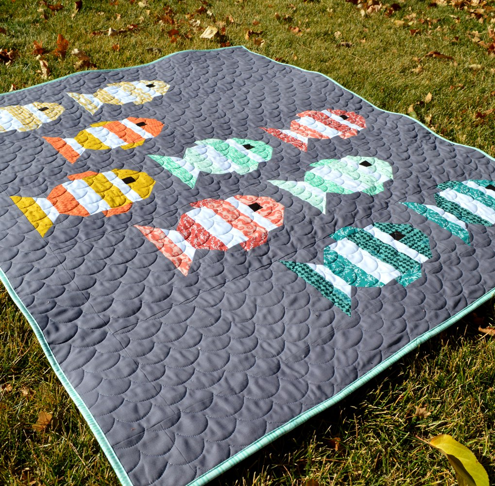kessi and all binding fish gone luann fishingbaby baby it quilt fishing for a quilted trimmed is ready
