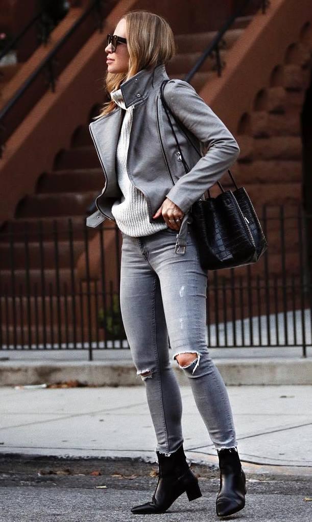 street style addict_moto jacket + sweater + bag + skinnies + boots