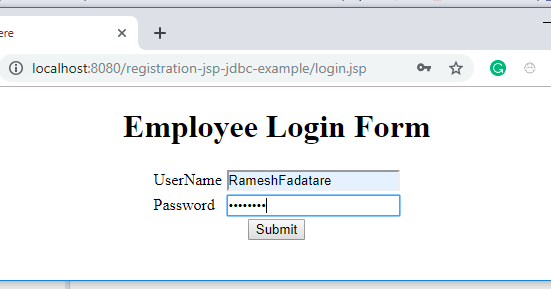 Login Form using JSP + Servlet + JDBC + MySQL Example