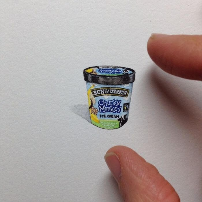 03-Ben-and-Jerry-Chunky-Monkey-Brooke-Rothshank-Miniature-Paintings-www-designstack-co