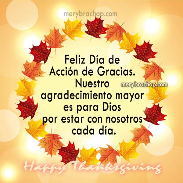 tarjeta feliz dia de accion de gracias thanksgiving bilingue  Dios esta con nosotros