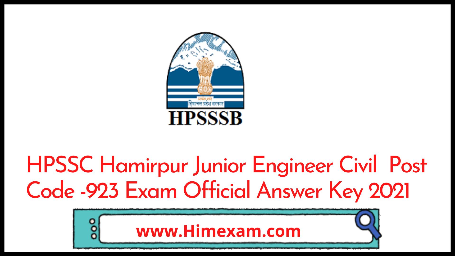 HPSSC Hamirpur Junior Engineer Civil  Post Code -923 Exam Official Answer Key 2021
