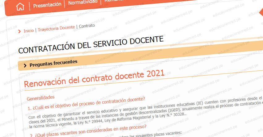 MINEDU: Sepa cómo será la Renovación del Contrato Docente 2021 [Documento Oficial]