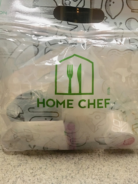 Home Chef meal kits come in this sturdy bag with everything you will need to prepare a delicious meal.