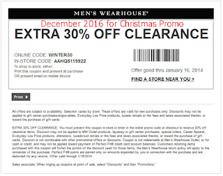 Men's Wearhouse coupons december