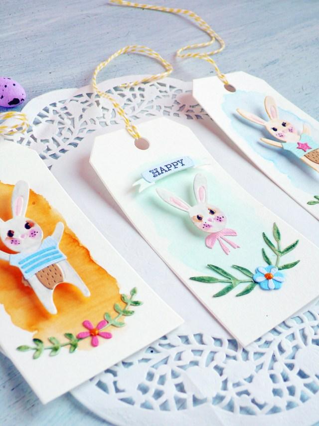 Pasqua fai da te: Tag con coniglietti effetto acquerello