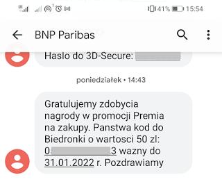 Bon do Biedronki: sms od banku