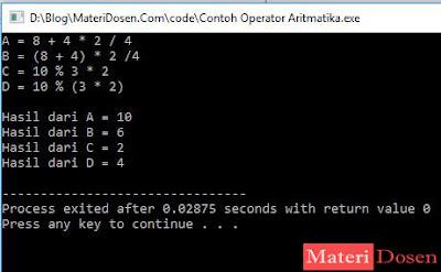 Contoh Program Menggunakan Operator Aritmatika C++