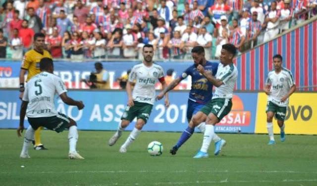 Bahia sai na frente, mas sofre empate do Palmeiras e amplia jejum no Brasileirão