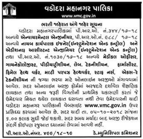 Vadodara Municipal Corporation (VMC) FHW, MPHW, Staff Nurse & Other Posts Rejected Applications List 2018
