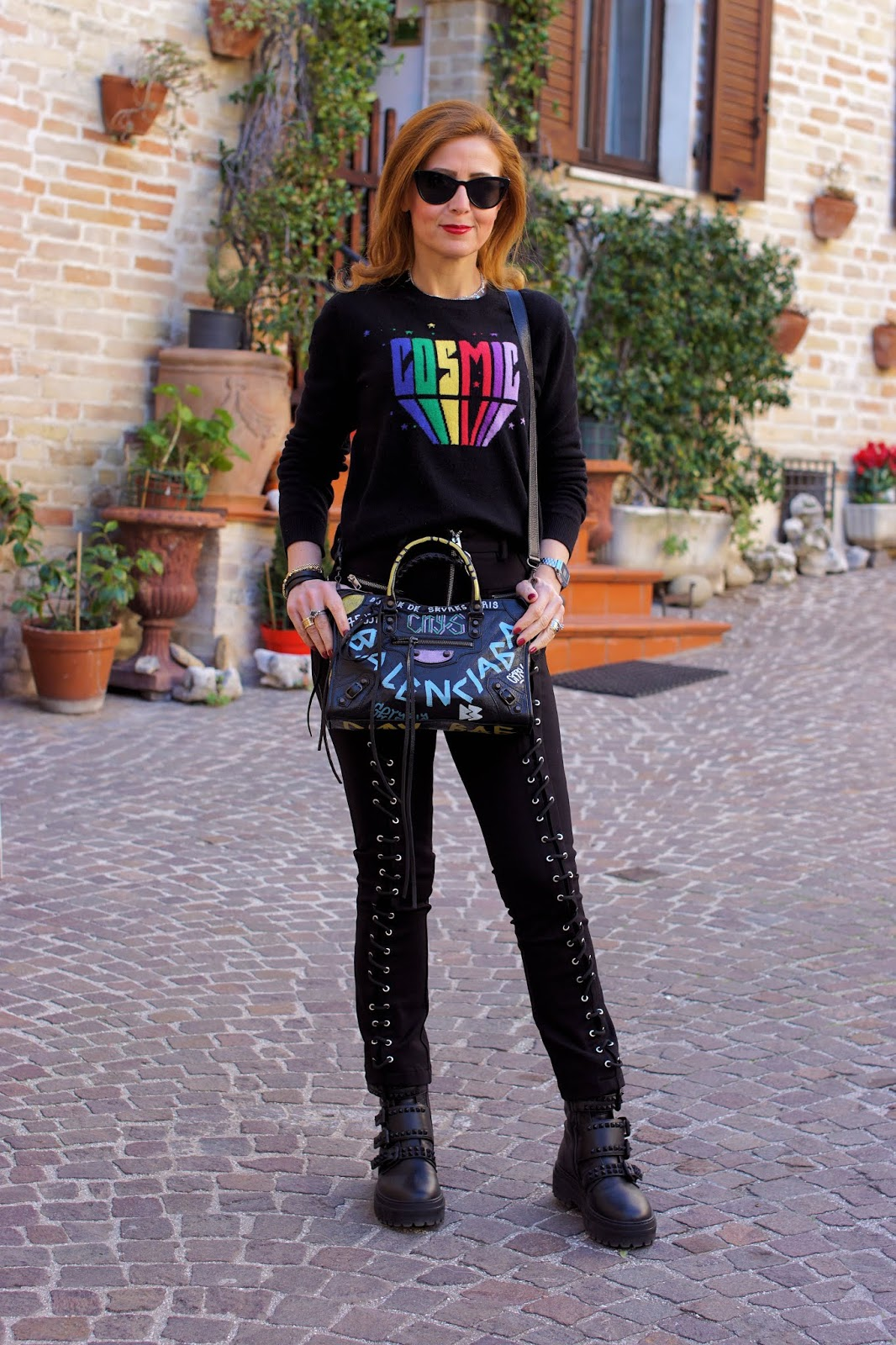 Diesel eyelet pants and Le Silla combat boots on Fashion and Cookies fashion blog, fashion blogger style